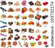 Various Candies Collection isolated on white background - stock photo