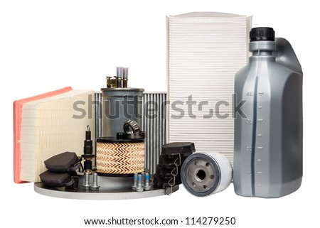 Various car parts necessary for vehicle service - stock photo