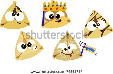 Various cartoon purim hamentashen cookies - stock photo