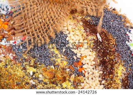 various cereal seeds and spices