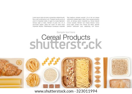 various cereals on white background top view - stock photo