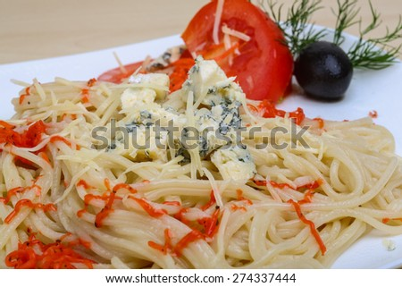 Various cheese pasta with blue brie and parmesan - stock photo