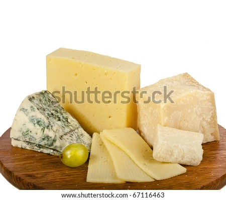 various cheeses on the wooden board isolated on white background