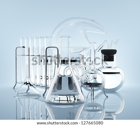 Various chemical vessels with chemicals symbolize science - stock photo