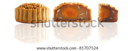 various chinese mooncakes with isolated white background, mooncake festival is held on september - stock photo