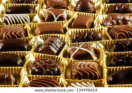Various chocolate pralines - stock photo