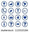 various Christian motifs blue stamp - stock vector