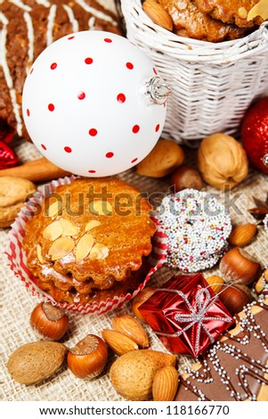 Various Christmas cookies and decoration