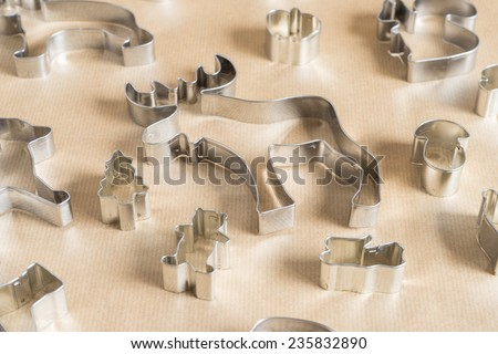 Various Christmas-themed cookie cutters