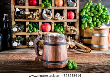 Various cider beer and ingredients - stock photo