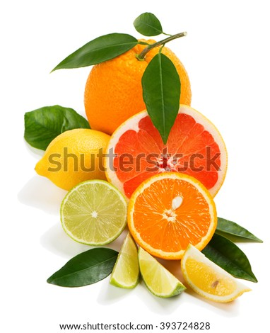 Various citrus fruits with leaves isolated over white background