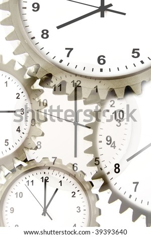 Various clock faces and cog wheels.