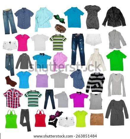 various clothes on the white - stock photo