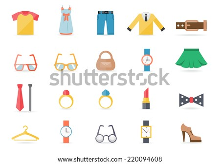 Various Clothing and Accessory Themed Graphic Icons on White Background - stock photo