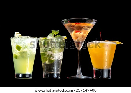 various cocktails - stock photo