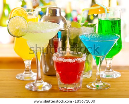 various cocktails in a bar - stock photo