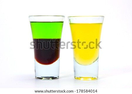 Various cocktails on white background - stock photo