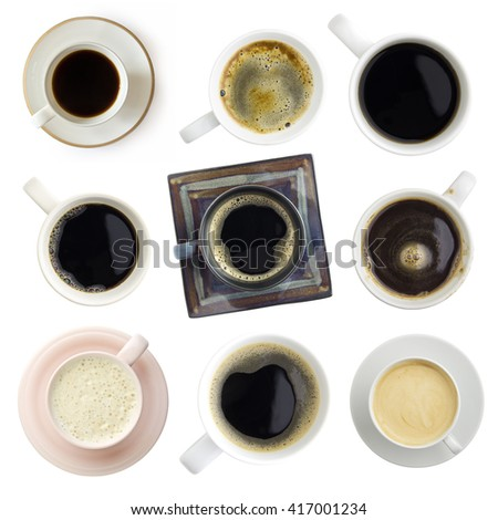 various coffee set, clipping paths included, top view - stock photo