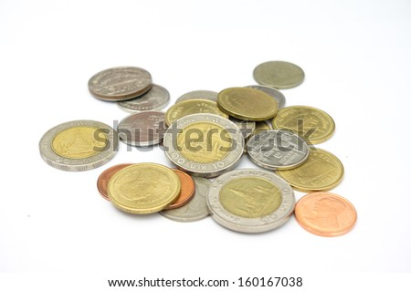 Various coins on white background