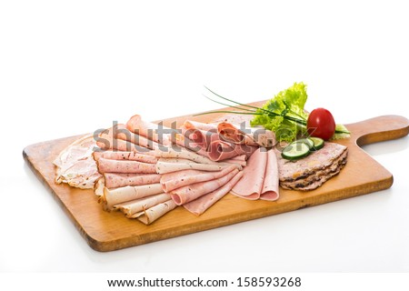 Various cold cuts on a plate - stock photo