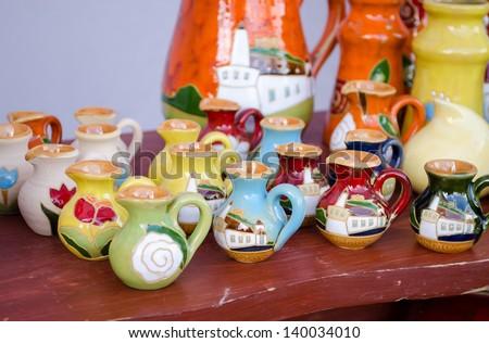Various Colorful Clay Handmade Craft Jug Jar Sell In Market