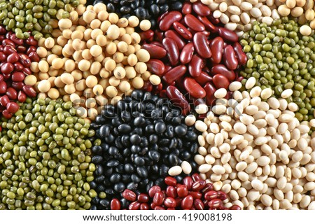 Various colorful dried legumes beans for background - stock photo