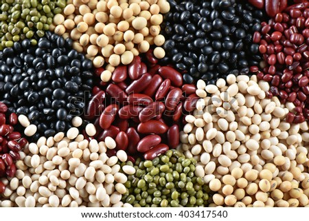 Various colorful dried legumes for background