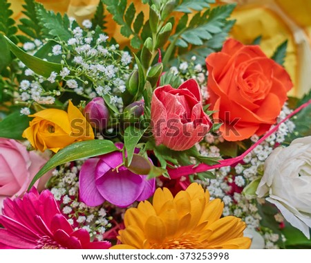 various colorful flowers bouquet closeup, natural background