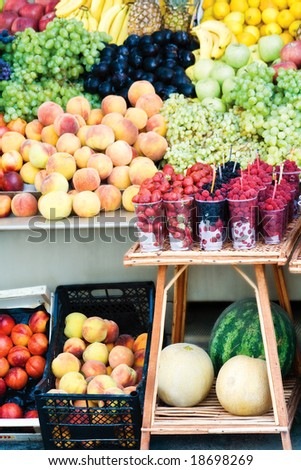 Various colorful fruits at the market