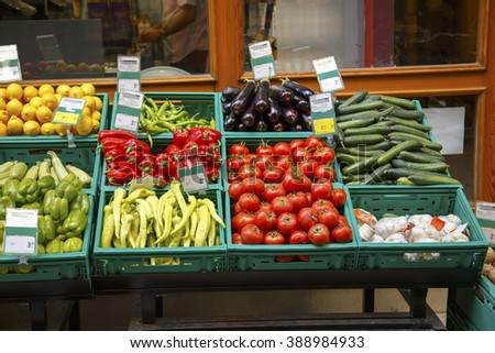Various colorful raw vegetables in local market.