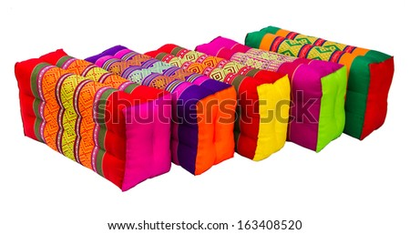 Various colorful Thai style pillow design on the white background.