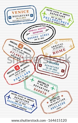 Various colorful visa stamps (not real) on a passport page. International business travel concept. Frequent flyer visas. - stock photo