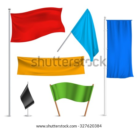 Various colors flags and banners pictograms collection with black racing and blue half-staff hoisted abstract  illustration - stock photo
