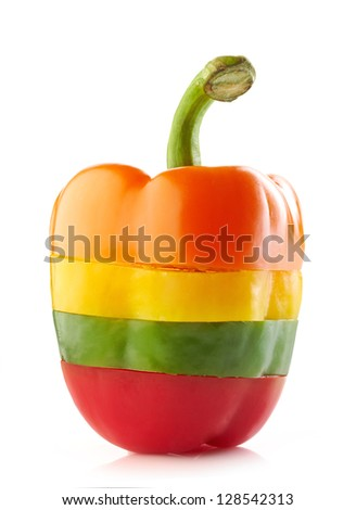 various colors paprika slices on white background