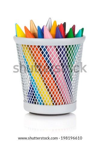 Various colour markers in holder. Isolated on white background - stock photo