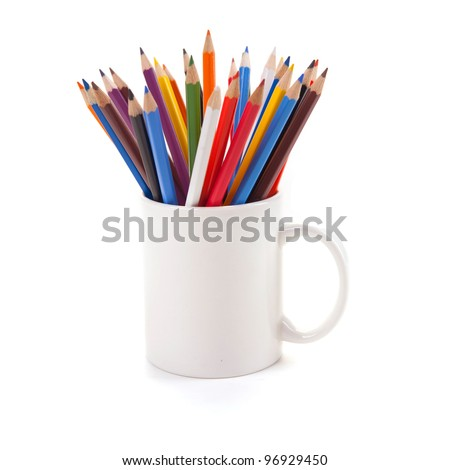 Various colour pencils in white cup isolated on the white background - stock photo