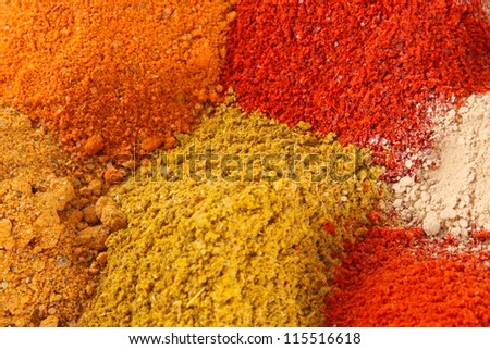 Various colourful spices of india close up  background - stock photo