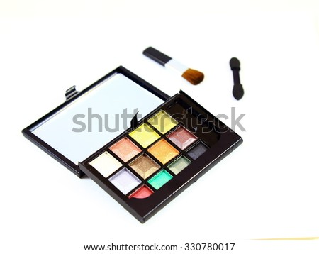 Various cometics makeup on white