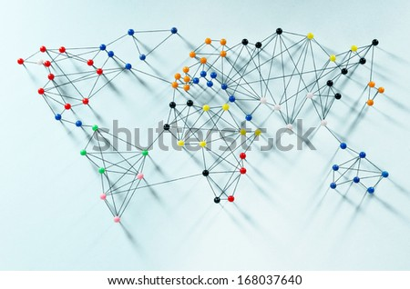 Various connections implying a world map - stock photo