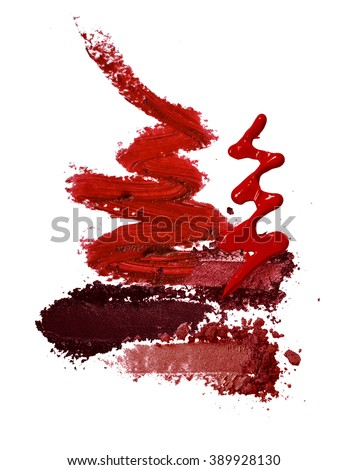 various cosmetic red fashion theme background - stock photo