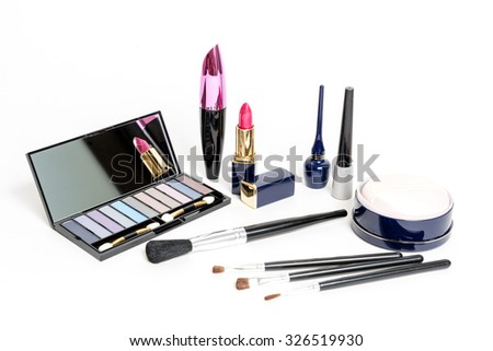 Various Cosmetics on white background