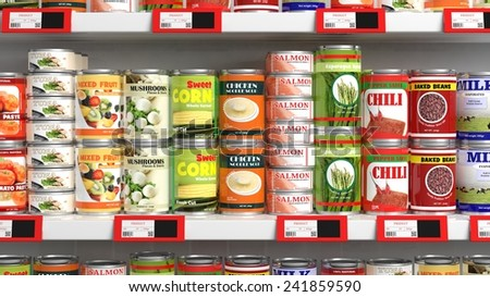 Various 3D can food products on supermarket shelve - stock photo