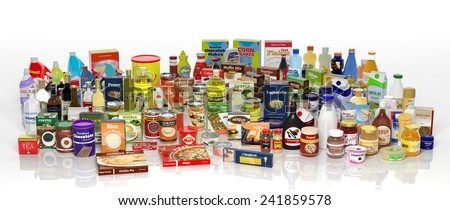 Various 3D grocery products isolated on white - stock photo