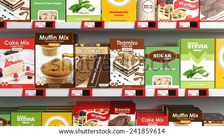 Various 3D sweets products on supermarket shelve - stock photo