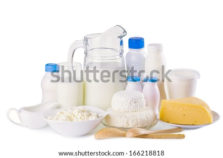 Various dairy products isolated on white background - stock photo
