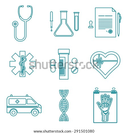 various dark blue color outline medical icons on white background - stock photo