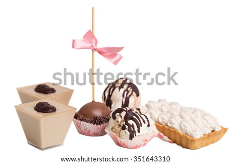 Various delicious french chocolate and meringue desserts. Isolated on a white background. - stock photo