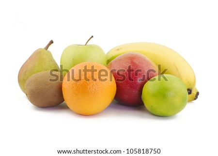 Various delicious fruits on white background - stock photo