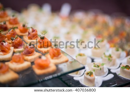various delicious salmon of appetizer, Very small depth of field - stock photo