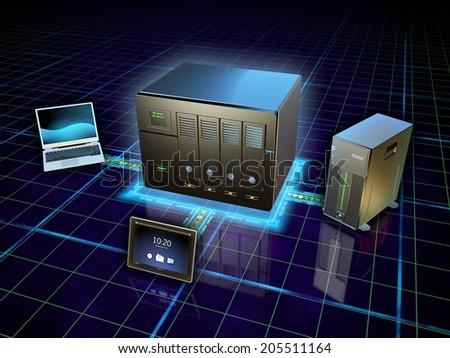 Various devices connected to a network attached storage. Digital illustration. - stock photo
